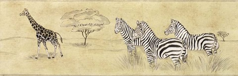 Framed Zebras and Giraffe Print