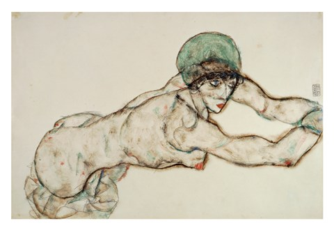 Framed Reclining Female Nude with Green Cap, Leaning to the Right, 1914 Print