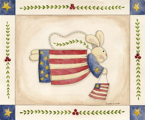 Framed Patriotic Bunny Angel With Flag Print