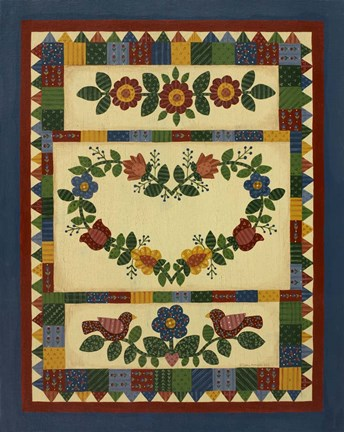 Framed Flower Quilt 1 Print