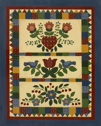 Framed Flower Quilt 2 Print