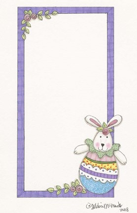 Framed Purple Border Bunny Print