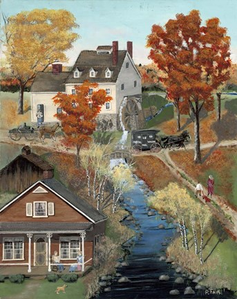 Framed Grist Mill In Fall Print