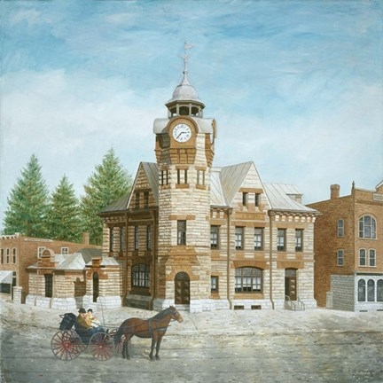 Framed Arnprior Post Office with Horse and Buggy Print