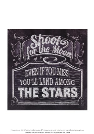 Framed Chalkboard - The Moon & The Stars Print