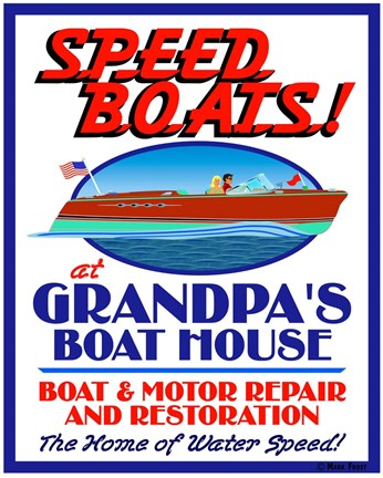 Framed Speed Boats Print