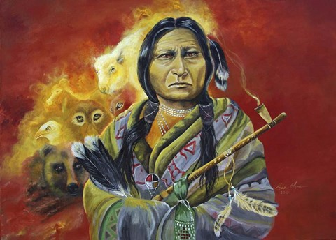 Framed Sitting Bull Peace Pipe Visions Print