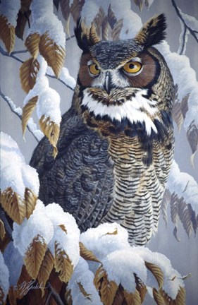 Winter Watch Great Horned Owl Fine Art Print By Wilhelm