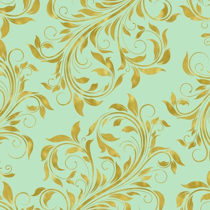 Framed Golden Mint Damask I Print