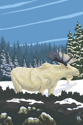 Framed White Moose Print
