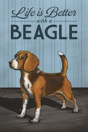 Framed Life is Better with a Beagle Print