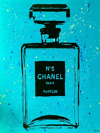 Framed Chanel Pop Art CC Blue Chic Print