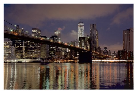 Framed Brooklyn Bridge at Dawn Print