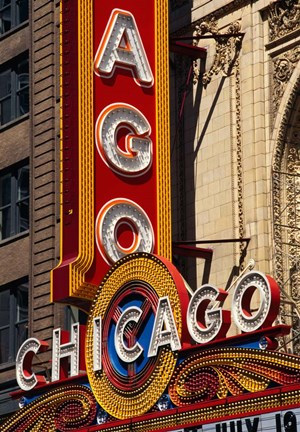 Framed Chicago Theater Sign, Illinois Print