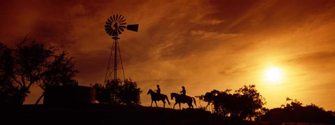 Framed Horse Ride at Sunset, Hunt, Kerr County, Texas Print