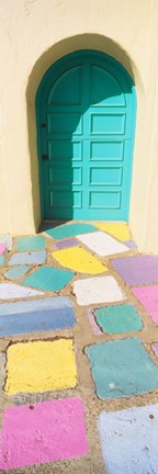 Framed Colored Tiles of a Door in Balboa Park, San Diego, California Print
