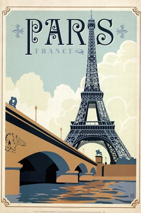 Framed Paris Blue Print