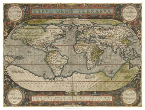 Antique World Map 36x48 Fine Art Print by Vision Studio at