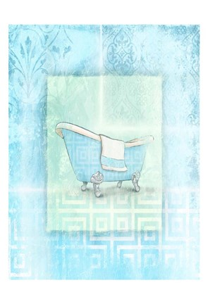 Framed Soft Blue Bath Print