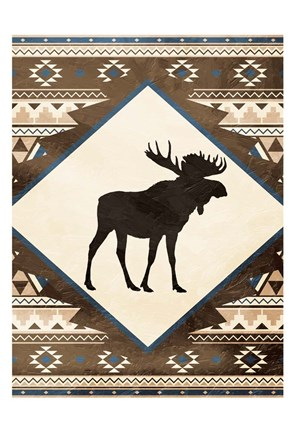 Framed Moose Pattern Mate Print