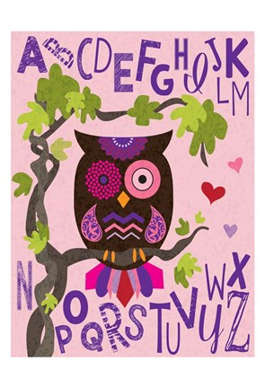 Framed Owl Set Numlet Pinks 1 Print