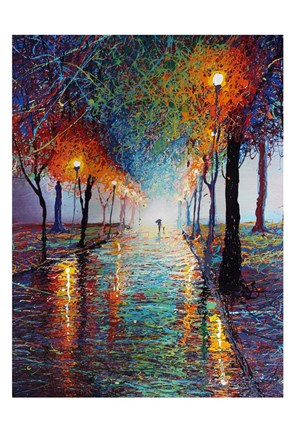 Framed Rainy Day Stroll Print