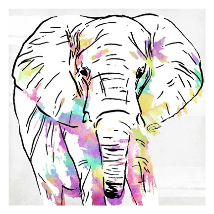 Framed Elephant Head Colorful Print