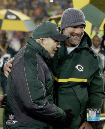Framed Brett Favre & Bart Starr at Favre's number retirement ceremony at Lambeau Field- November 26, 2015 Print