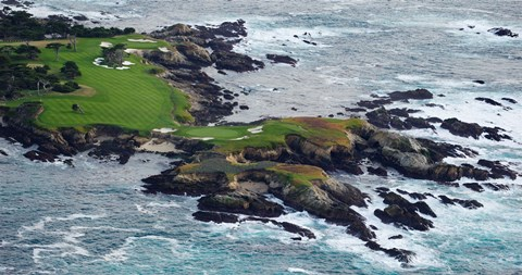 Framed Golf course on an island, Pebble Beach Golf Links, Pebble Beach, Monterey County, California, USA Print