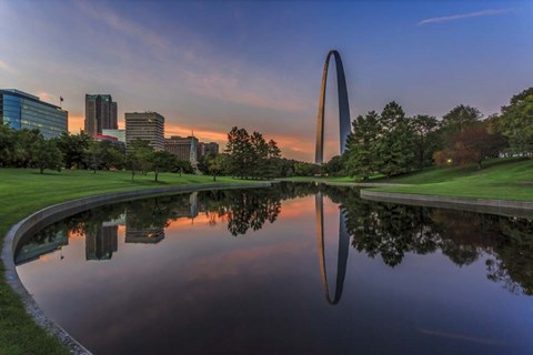 Framed Gateway Arch Reflection Sunset Print