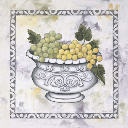 Framed Green Grapes In A Silver Bowl Print