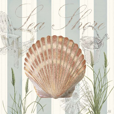 Framed Seashells by the Seashore II Print