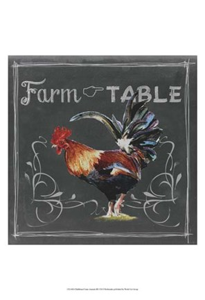 Framed Chalkboard Farm Animals III Print