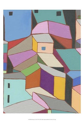 Framed Rooftops in Color VIII Print