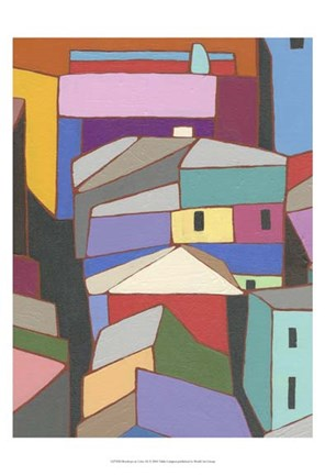 Framed Rooftops in Color IX Print