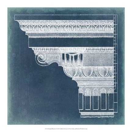Framed Capital Blueprint I Print