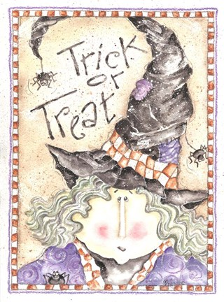 Framed Trick or Treat Witch Print