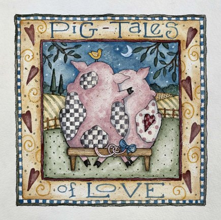 Framed Pig-Tales Of Love Print