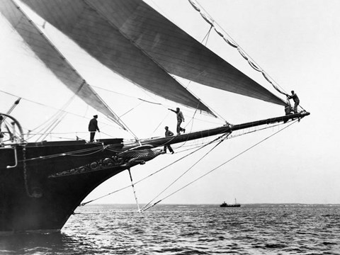 Framed Ship Crewmen Standing on the Bowsprit, 1923 Print