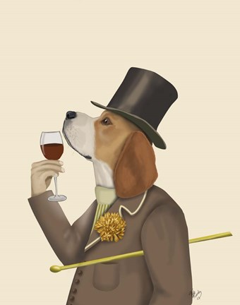 Framed Beagle Wine Snob Print
