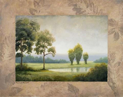 Framed Green Land I Print