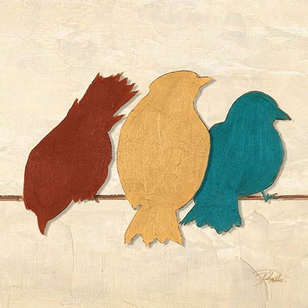 Framed Birds II (assorted colors) Print
