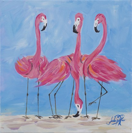 Framed Fancy Flamingos II Print
