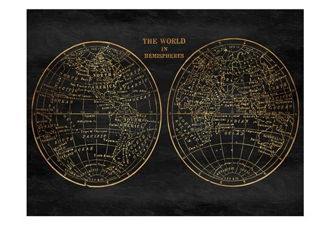 Framed Gold World Map Print