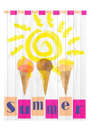 Framed Summer Ice Cream Cones Print