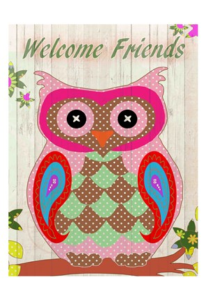 Framed Patchwork Owl Welcome Print