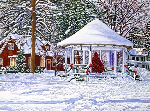 Gazebo At Ellicottville Winter Fine Art Print By Thelma