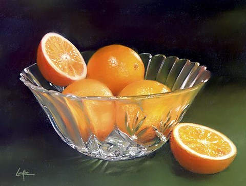 Framed Oranges Crystal Vase Print