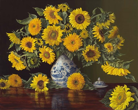 Sunflowers In Blue And White Vase Fine Art Print By Christopher