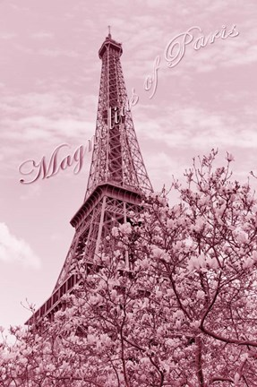 Framed Eiffel Tower with Magnolia Pink Print